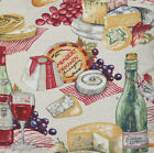 Picnic Fabric Linen Material Printed Country Style Cheese Wine Sold by Metre
