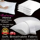 Anti-Allergy Pair Of Pillow Protectors 100% Cotton Anti-Bacterial Zipped Entry
