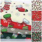 Christmas Stocking fabric, red green ivory silver sold per 1/2 M / Fat quarter