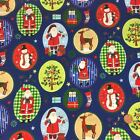 Christmas Fabric Santa's busy day  sold per 1/2 Metre or Fat quarter 100% cotton