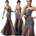 Mermaid SEQUINS Prom Wedding Dess Ball Gown Formal Evening Masquerade Dress Sexy