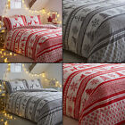 Snowflake Christmas Reindeer Reversible Quilt Duvet Cover Set Red Grey White