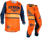 Fly Racing 2018 Kinetic Era Motocross Jersey & Pants Orange Navy Kit MX Off Road