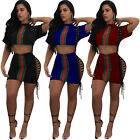 Women Short Sleeve Sportwear Bandage Crop Tops Skirt Suits Outfits 2 Pieces Set