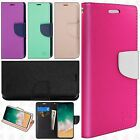 For Apple iPhone 8 Premium Leather 2 Tone Wallet Pouch Flip Cover + Screen Guard