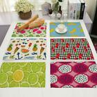 1Pc 42x32cm Kitchen Cotton Linen Fruits Pad Placemat Dining Table Mat ED