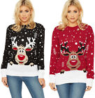 Womens Xmas Reindeer Jumper Ladies Snowflake Long Sleeve Knitted Top New 8-18