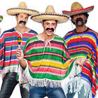 Mexican Poncho Mens Fancy Dress National Bandit Wild Western Adults Costume New