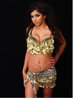 2 Piece Bra Top & Hip Belt Gold Coin Beads Tribal Burlesque Costume Belly Dance