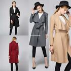 AU Women Long Sleeve Waterfall Loose Cardigan Outwear Trench Coat Jacket