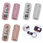Handmade Crystal Key Cover For Mazda Key Fob Wrap Aluminum Metal Genuine Leather