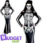 Skeleton Ladies Fancy Dress Day of the Dead Halloween Womens Adult Costume New
