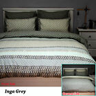 3 Pce Inga Grey Reversible Quilt Doona Duvet Cover Set by Apartmento- QUEEN KING