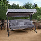 Turin 3 Seater Reclining Swing Seat - Charcoal Frame with Luxury Cushions