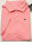 Vineyard Vines Boys Performance S/S Flamingo Pink Two Color Stripe Polo Shirt