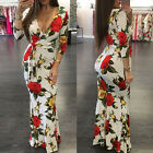 Women Formal Casual 3/4 Sleeve Floral Bodycon Maxi Dress Evening Cocktail Party