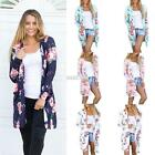Women Front Open Stitch Long Sleeve Printed Floral Loose Cardigan Coat S0BZ