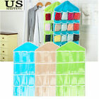US 16Pockets Clear Over Door Home Hanging Bag Shoe Rack Hanger Organizer Storage