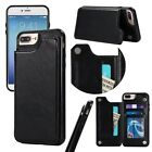 Black Premium hybrid TPU & Leather Case with card holder for iphone 7 7P S8 S8P