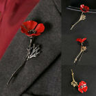 sequin poppy brooch - 1Pc Red Flower Brooch Pin Banquet Crystal Badge Gold Flower Gift Jewelry