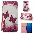 Red Butterfly 3D Wallet Leather case cover with strap for Samsung S8 iphone 8