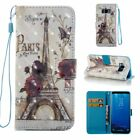 Rose and Eiffel Tower 3D Wallet Leather case cover strap for Samsung S8 iphone 8