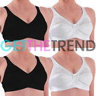 Ladies Firm Control Satin Bra Womens Non Wired Full Soft Cup Bras Size 34B-48E