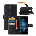 For Nokia 8 PU Leather Flip Cover Slots Wallet Stand Case Pouch Black