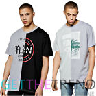 New Mens Shirts Oversize Spliced Chest Printed T-Shirts Half Sleeves Casual Top
