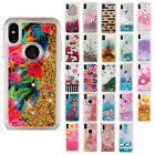 For Apple iPhone X Liquid Glitter Quicksand Hard Case Cover +Screen Protector