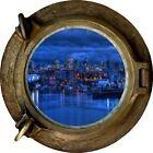 Huge 3D Porthole Enchanted River City View Wall Stickers Film Decal 406