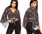 Womens Paisley Print Long Flared Bell Sleeve Tied Front Ladies V-Neck Crop Top