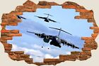 3D Hole in Wall Army Bombers Planes View Wall Stickers Decal Wallpaper Mural 931