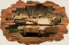 3D Hole in Wall Army Fighter Tanks View Wall Stickers Decal Wallpaper Mural 904