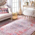 nuLOOM Traditional Vintage Silky Style Medallion Area Rug in Multi Red, Blush