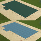 GLI Solid Green Blue Rectangle Swimming Pool Safety Cover w/ Drain & Left Step