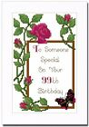 95th, 96th, 97th, 98th or 99th ROSE BIRTHDAY CARD - CROSS STITCH KIT