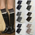 Womens Leg Warmers Boot Toppers Socks Knitted Knit Winter Double Color UK Stock