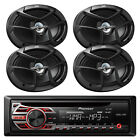 "Pioneer CD MP3 AM/FM Radio Car Receiver w/ Remote, 4x JVC 6x9"" 400W Speakers"