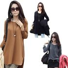 Lady Casual Asymmetric Side Split Zippered Long Sleeve Long Top Blouse Tee M-XL