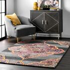 nuLOOM Hand Made Traditional Vintage Floral Wool Blend Area Rug in Gray Pink