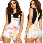 Womens Denim Dungaree Playsuit Shorts Ladies Tie Dye Print Strappy Hot Pants Top