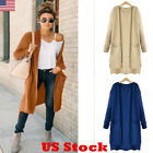 Us Women Maxi Cardigan Jacket Coat Long Sleeve Loose Pocket Sweater Outwear Tops