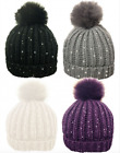 Womens Bobble Hats Ribbed Sequin Detachable Faux Fur Pom Pom Winter Woolly Knit