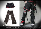 punk heavy rock yasha cobweb 2-way detachable pants w/ pleated wrap【JPK053】