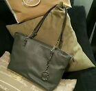 Michae Kors Grey leather tote silver chain