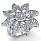 Natural 1ct Round Diamond Ladies Fancy Cluster Flower Engagement Ring 14K Gold