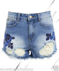 Size 6 8 10 12 14 NEW HOHE TAILLE SHORTS Damen Jeans RIP HOHER BUND HOTPANTS