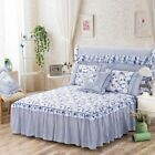 Cotton Floral BedSkirt Valance Set Single Queen King Size Bed Pillowcase Set NEW