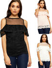 Womens Mesh Lace Lined Party Top Ladies Cut Out Cold Shoulder Short Sleeve 8-14
